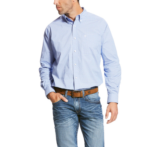 Men's Ariat L/S, Painton, Blue and White Poplin Print