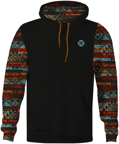 "Men's Hooey Hoodie, ""Chimayo"" Black with Printed Sleeve"