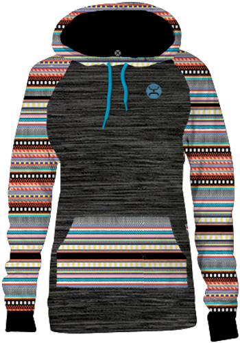 Women's Hooey Hoodie, Charcoal with Aztec Print
