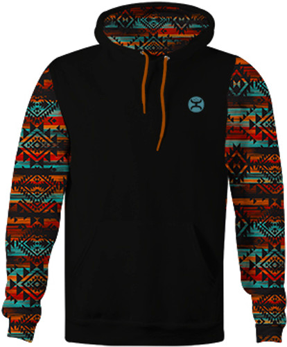 "Boys Hooey Hoodie, ""Chimayo"" Black with Printed Sleeve"