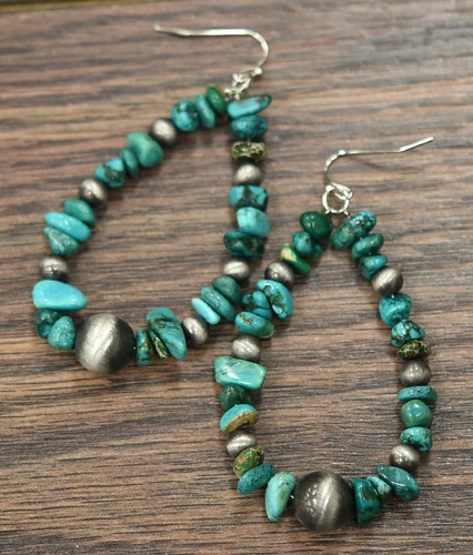 Isac Trading Earrings, Teardrop Turquoise Stones