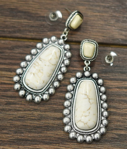 Isac Trading Earrings, Silver Beaded Border, White Stone Center