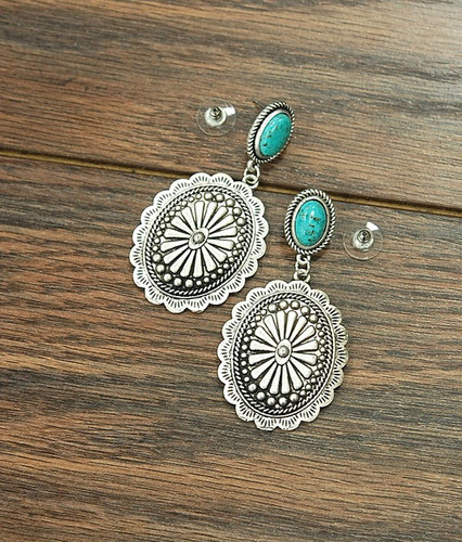 Isac Trading Earrings, Turquoise Post with Silver Concho