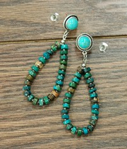 Isac Trading Earrings, Turquoise Disk Teardrop, Turquoise Post