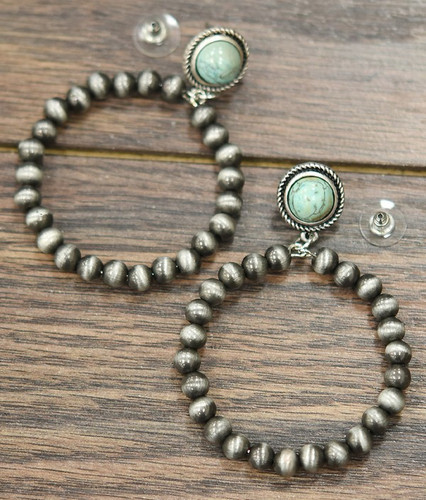 Isac Trading Earrings, Navajo Pearl Hoop with Turquoise Post