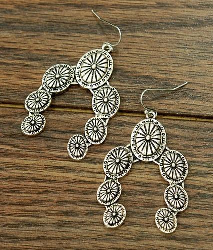 Isac Trading Earrings, Squash Blossom Silver Concho