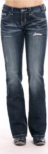 Women's Rock & Roll Jeans, Riding, Boot Cut, Dark Wash, Distressed