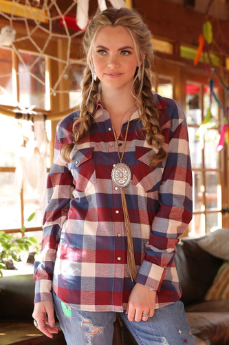 Women's Cruel Girl L/S, Red, White and Blue Plaid
