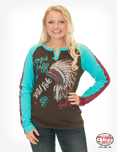Women's Cowgirl Tuff L/S, Brown and Turquoise Raglan, Headdress