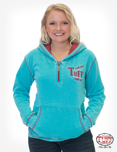 Women's Cowgirl Tuff Hoodie, Turquoise Burnout with Embroidery