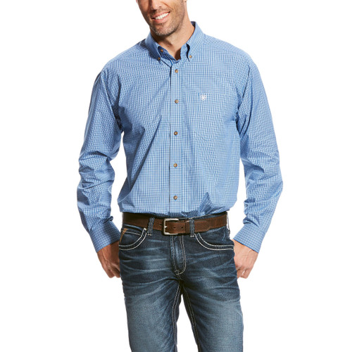 Men's Ariat L/S, Blue with White Checkered Print