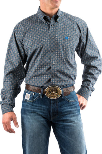 Men's Cinch L/S, Dark Gray with Blue Print