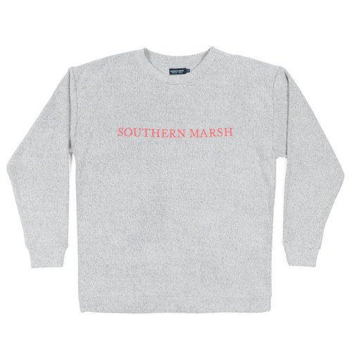 Women's Southern Marsh Sweater, Gray with Pink Letters