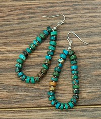 Isac Trading Earrings, Turquoise Disk Beads, Fish Hook