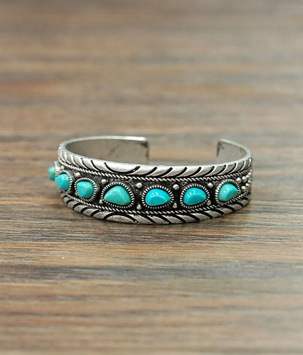 Isac Trading Cuff, Silver Rope Border, Turquoise Stones