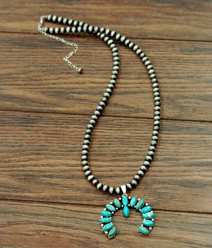 Isac Trading Necklace, Navajo Pearl with Turquoisue Squash Blossom, 30""
