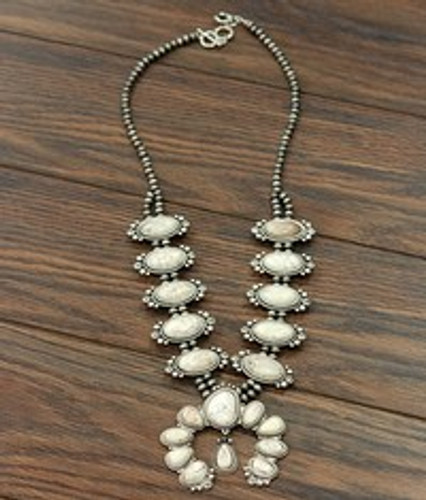 Isac Trading Necklace, White Squash Blossom, Navajo Beads