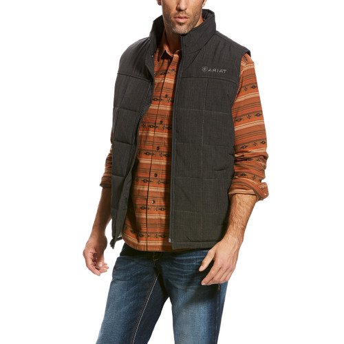 Men's Ariat Vest, Crius, Quilted Charcoal
