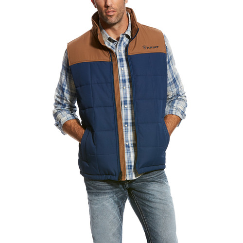 Men's Ariat Vest, Crius, Brown Shoulders, Blue Colorblock