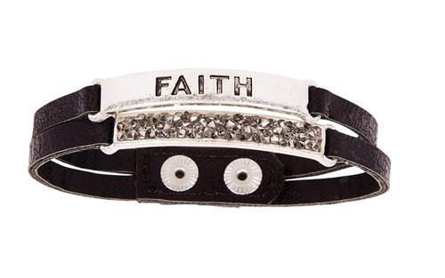 Ethel & Myrtle Bracelet, Black and Silver, Faith, Snap