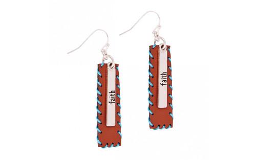 Ethel & Myrtle Earrings, Leather, Faith