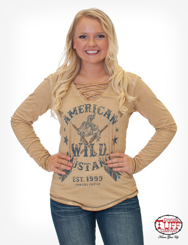 Women's Cowgirl Tuff L/S, Tan, V Neck, Bucking Horse