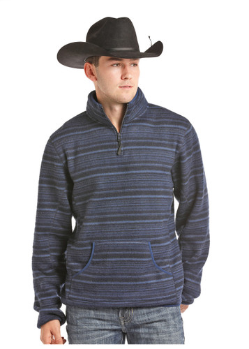 Men's Powder River Pullover, Blue Striped, 1/4 Zip