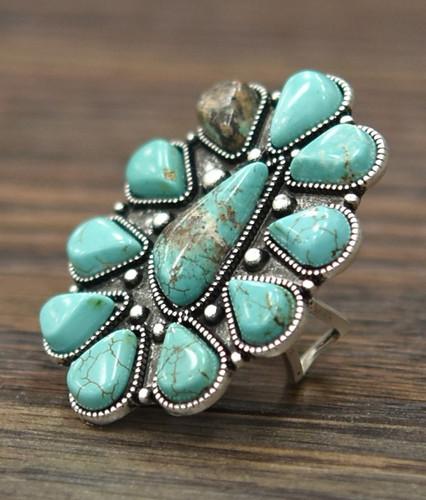 Isac Trading Ring, Turquoise Stone Flower