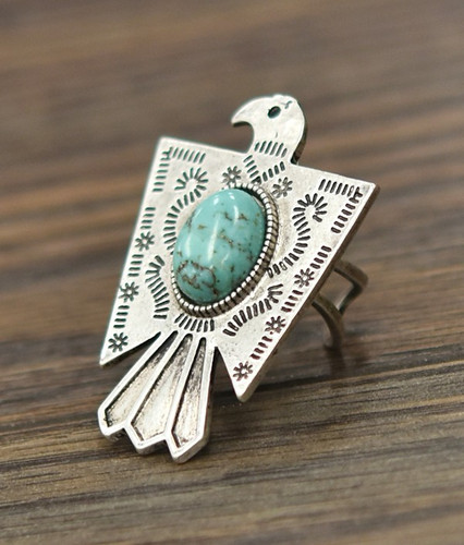 Isac Trading Ring, Silver Thunderbird with Turquoise Stone