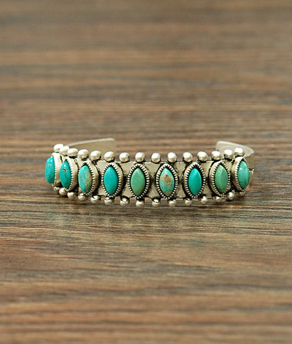 Isac Trading Cuff, Silver with Turquoise Stones