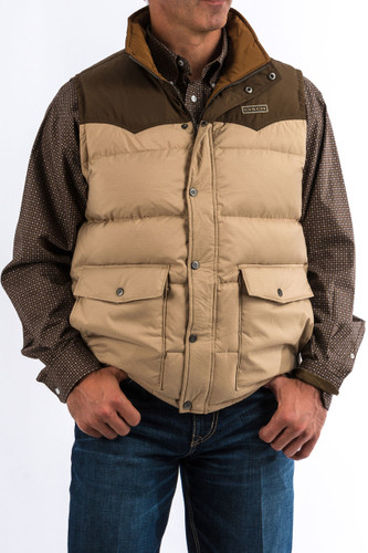 Men's Cinch Vest, Quilted Down, Tan