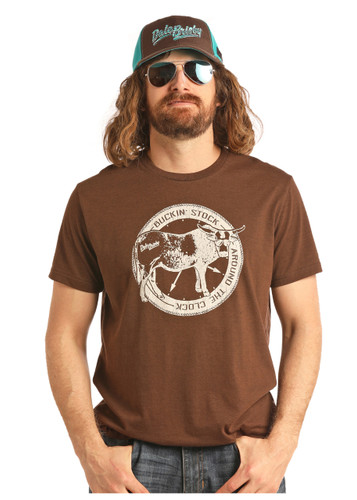 "Men's Dale Brisby Tee, Brown, ""Buckin' Stock Around the Clock"""