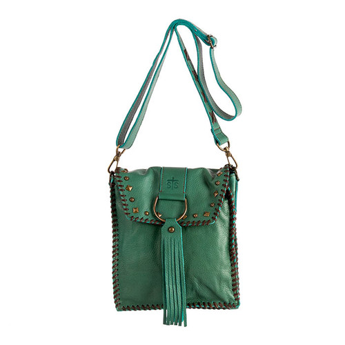 Women's STS Crossbody, Destiny's Dee Purse, Jade with Chocolate Whipstitch