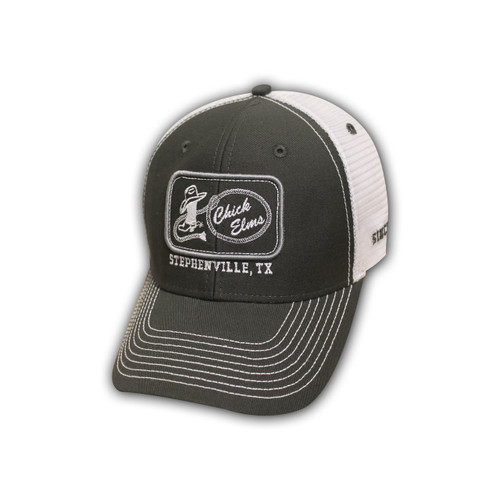 Men's Ouray Cap, Chick Elms Logo, Gray and White Trucker Style