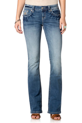 Women's Miss Me Jean, Orange and Turquoise Stitching