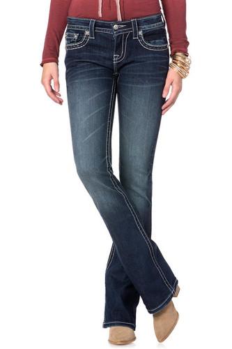 Women's Miss Me Jean, Dark Wash, White Stitched Pocket