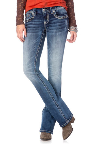 Women's Miss Me Jean, Medium Wash, Embellished Pocket