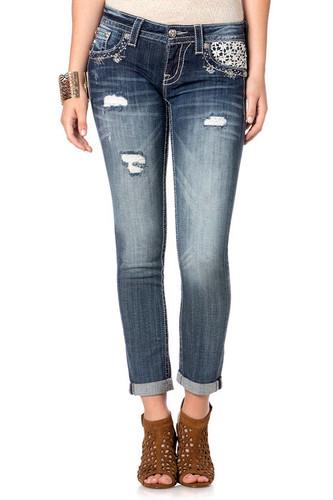 Women's Miss Me Jean, Crocheted White Pocket
