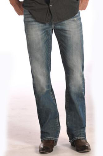 "Men's Rock & Roll Jeans Med Wash, Relax, Straight Leg, Cream ""V"" Stitch Pocket"