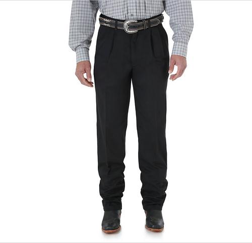 Men's Wrangler Riata Pants, Black, Twill Pleated Front