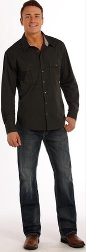Men's Rock & Roll Jeans Med/Dark Wash, Relaxed, Straight Leg, Single Line Pocket