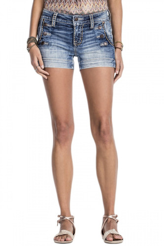 Women's Miss Me Shorts, Light Wash, Buttons on Front