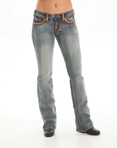 Women's Cowgirl Tuff Jean, Gold Sequin Pocket
