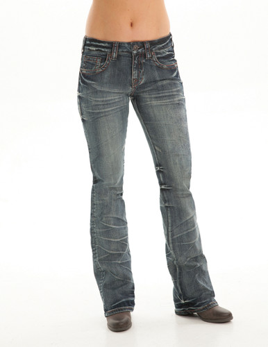 Women's Cowgirl Tuff Jean, Multicolor Cross Pocket