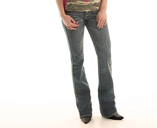 Women's Cowgirl Tuff Jean, Dark Green Stitch Pocket