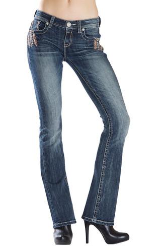 Women's Grace in LA Jeans, Silver Feathers