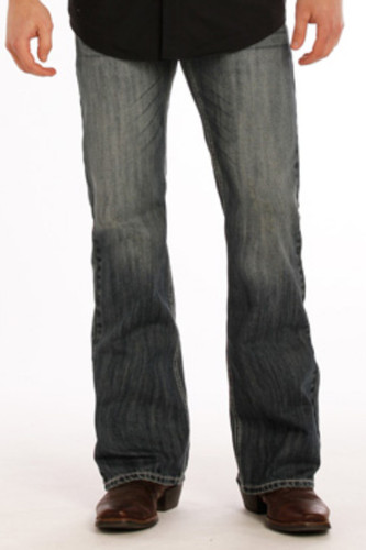 Men's Rock & Roll Jeans, Medium Wash, Regular Boot Cut, Gray Stitch