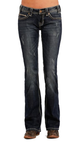 Women's Rock & Roll Jeans, Boyfriend, Med Wash, Cream Stitch Pocket
