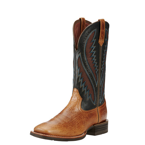 Men's Ariat Boot, Brown Vamp with Black Top, Blue and Red Stitching
