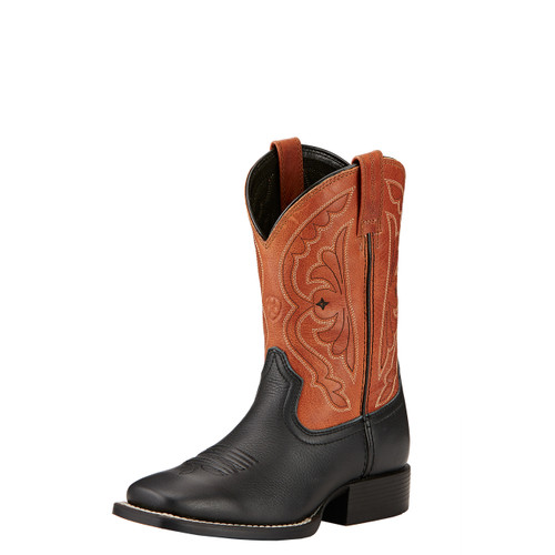 Kids Ariat Boot, Quickdraw, Black w/ Rust Top